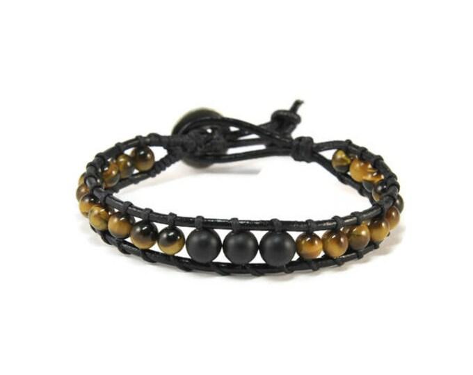 Rock Me * Men's Boho Style Leather Bracelet. Cuff Bracele. Boho Jewelry. Bohemian Jewelry. Ideas for him. Gift for him. Onyx. Tiger Eye
