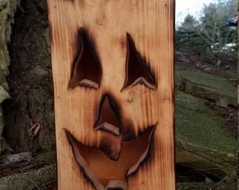 Wood Jack o' Lantern / Halloween Decor / Pumpkin Lantern