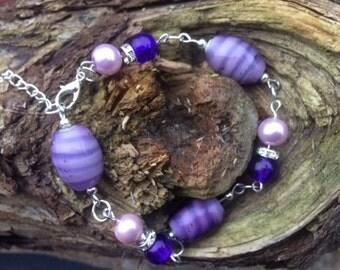 Purple Bracelet, Glass Bead Bracelet, Striped Bracelet Beaded Bracelet, Silver Plated Bracelet, Ladies Bracelet, Handmade Bracelet