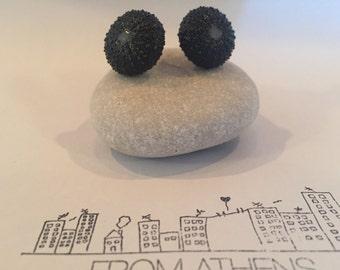 Sea urchin earrings - black