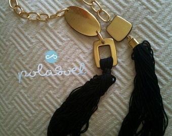 Macrame chainnecklace, with gold plated elements,double platinium,black floss