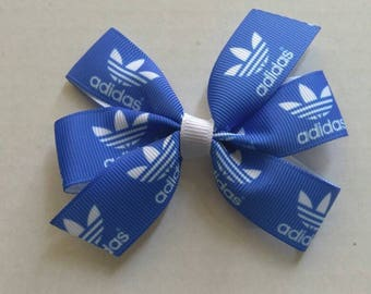 Party favor hair bow, girls hair bow, blue pigtail set, Sports hair bows, baby hair bow, back to school hair bow