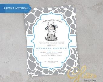 Cow baby Shower invitation, digital baby shower invitation, boy, blue and gray