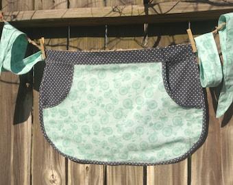 Bicycles and polka dots clothespin apron