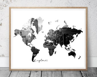 World map print, black print, black city decor, black map print, world map printable, black prints, black wall art, instant download