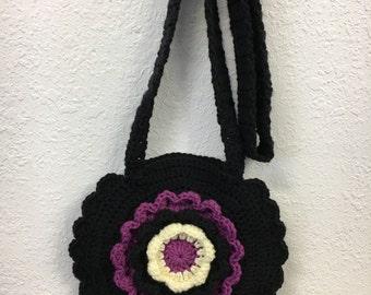 Crochet Cross Body Black Flower Shoulder Bag