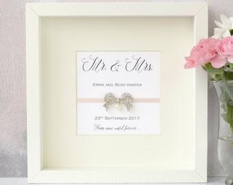 Wedding Frame. Wedding Gift. Personalised Wedding Frame. Handmade Wedding Present. Diamante Pearl Bow. Mr & Mrs Wedding Gift.
