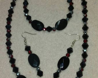 Black, Red and Silver Sparkle Set