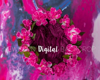 Newborn Digital Background / Backdrop Pink Flowers Sale