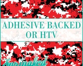 Red, Black & White Digital Camo Pattern Adhesive Vinyl or HTV Heat Transfer Vinyl for Shirts Crafts and More!