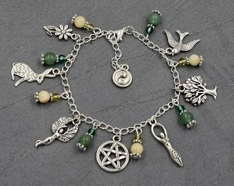 Ostara Charm Bracelet with Aragonite & Green Aventurine. Pagan, Wiccan, Sabbat, Pentacle, Wicca, Witch, Spring Equinox