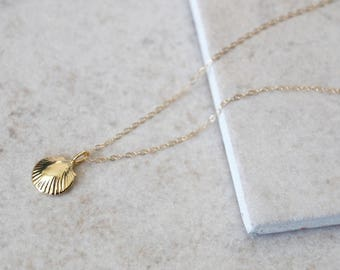 Seashell Necklace - 14k Gold Filled or Sterling Silver - Everyday Jewelry