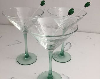 Vintage Martini Glass Set with Olive Picks