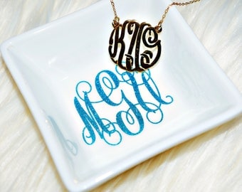 Monogrammed Personalized Jewelry Trinket Dish