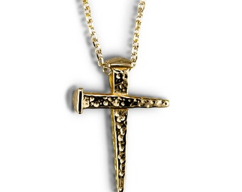 Gold cross pendant Handmade cross charm with or without necklace