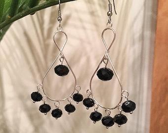 Black Loop Chandelier Earrings