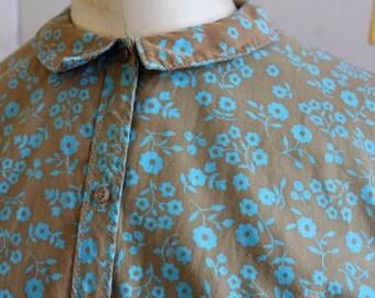 1950s dusty brown cotton shirtdress with cornflower blue posy print