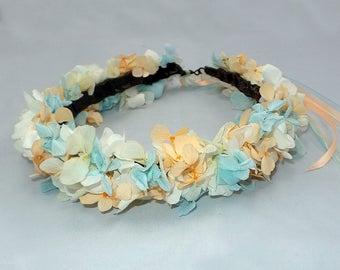 Bridal naturel hairstyle, flowers crown, preserved flowers, romantic flower crown, Bridal Hair Crown, hydrangea bridal or bridesmaids crown