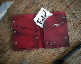 Handmade Leather Wallet, mens leather wallet, red distressed leather wallet, bi-fold leather wallet.