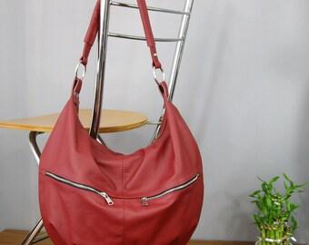 LEATHER HOBO bag, Red Hobo Bag,  Leather Hobo Bag, Hobo bags, boho bag, leather bag, Everyday Leather Bag, Laptop Bag, Ready To Ship