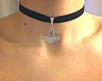 Ras the Nordic Thor hammer Mjöllnir viking neck necklace choker legend Valhalla valkyrie mythology