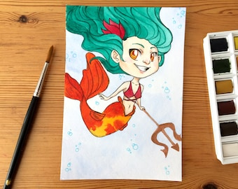 Fire Mermaid - original illustration