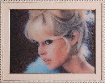 Brigitte Bardot,Movie lover Movie star portrait Movie Art Celebrity  portrait for a gift Beads painting mozaic art Old Hollywood Decor