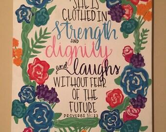Proverbs 31:25 Acrylic Bible Verse Canvas