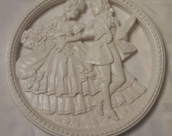 Chalkware Victorian Couple Plaque