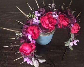 Pink Peony Flower Crown with Gun Metal Spikes and Glass Beads