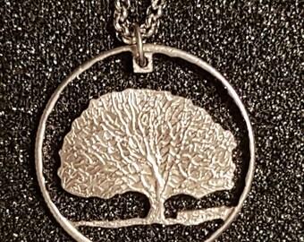 Charter Oak / Tree of Life Connecticut American Quarter Cut Coin Necklace Pendant
