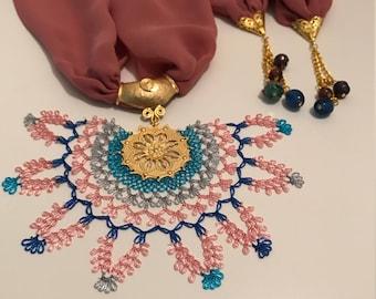 Rose Colored Scarf with Turkish Crochet, Turkish Oya, Handmade Crochet