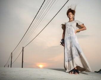 Screenprinted linen dress