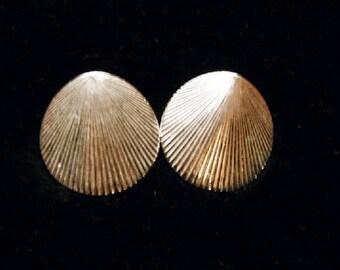 Vintage Jewlrey Monet Fan Design Post Earrings in Silver