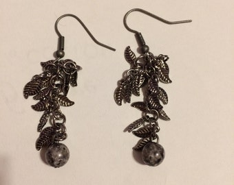 Silver feathered earrings