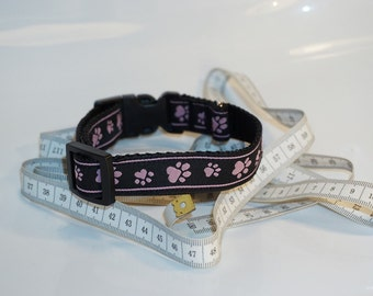 Black with paw pink adjustable dog collar Gr.S + M handmade