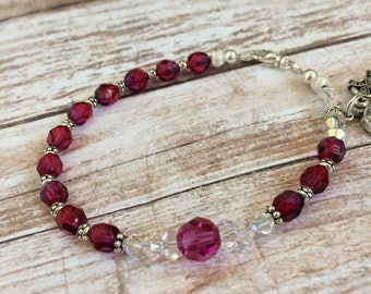 Ruby/Blue Czech Firepolished With Swarovski Crystal Rosary Bracelet