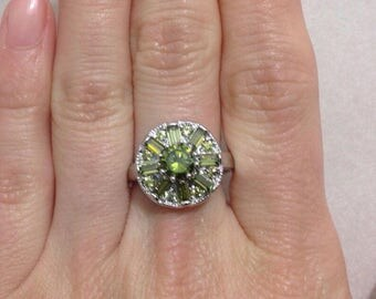 Green Flower 925 Sterling Silver Ring