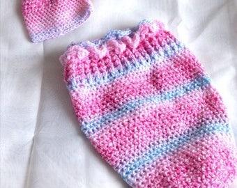 Handmade Crochet Newborn Cocoon and Hat, Baby Accessories, Handmade Baby Accessories, Handmade Baby Cocoon, Habdmade Baby Hat,