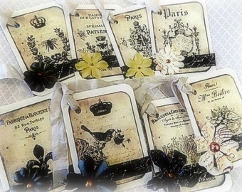 8 French Inspired Hang Tags - Cottage chic - Gift Tag - Birds Embellished