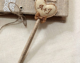 Burlap Wedding Guest Book Pen,Custom Burlap Guest Book Pen,Creative Gift for Wedding and Birthday,Handmade Burlap Pen.