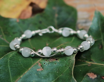 Sterling Silver, Handcrafted Bracelet with White Cateye Beads 6mm