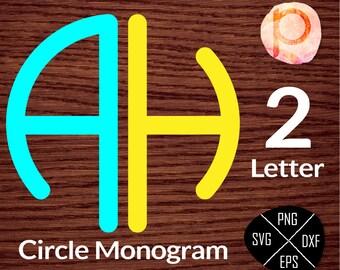 2 Letter Circle Monogram SVG*Circle Monogram Font Letters Alphabet SVG*svg,clipart,eps,dxf,png,jpg*Cutting File,Vinyl*Cricut*Silhouette