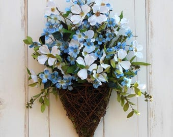 Front Door Wreath, Door Basket, Blue Flower Wreath, Summer Wreath, All Season Wreath, Wreath for Summer, Summer Door Basket, Everyday Wreath