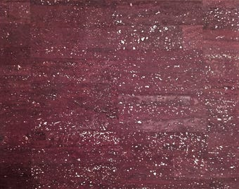 Cork Fabric  (US Supplier) - Deep Purple with Silver flecks - Vegan EcoFriendly - Leather Alternative - Made in Portugal