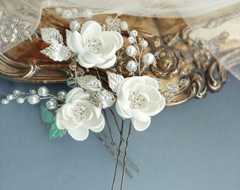 Flower Bridal Hair Pins, Bridal Hair Piece, Bridal headpiece, Wedding headpiece, Wedding hair piece, Bridal head piece