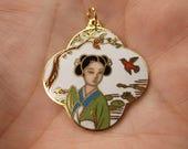 Gorgeous Vintage Enameled Cloisonne Japanese Lady with Birds Pendant 20% OFF Entire Order Code JRS20