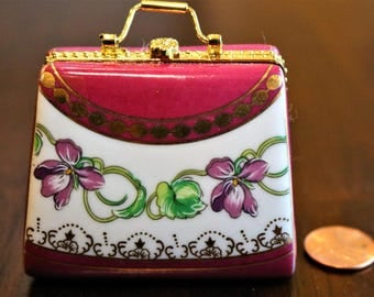 Hot Pink Purse, Porcelain Hinged Box, PHB, Treasure Box, Magenta, Floral Design, Silk Lining