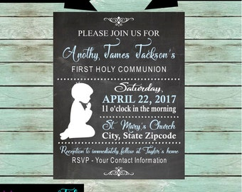 First Communion Boy ~Any Color~ Party Chalkboard Invitations Invites Personalized Custom ~ We Print and Mail to You