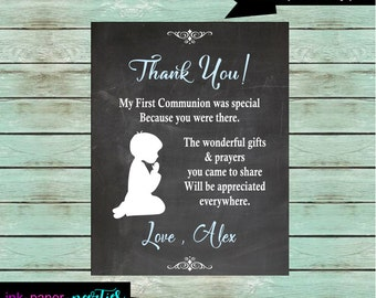 First Holy Communion Religious ~Any Color Font ~ Party Thank You Note Cards ~ We Print and Mail to You
